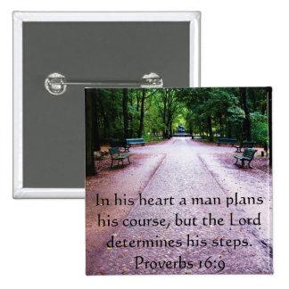Verso inspirado da bíblia do 16:9 dos provérbio pins