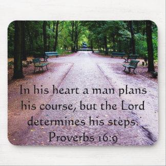 Verso inspirado da bíblia do 16:9 dos provérbio mouse pad