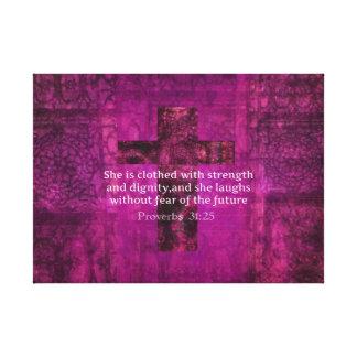 Verso inspirado da bíblia do 31:25 dos provérbio p impressão em tela