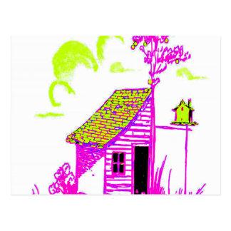 vertente, árvore, birdhouse, flores cartão postal