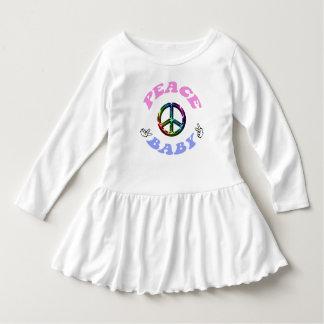 Vestido do plissado da criança do bebê da paz de