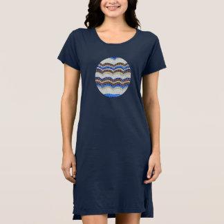 Vestido do t-shirt das mulheres azuis do mosaico