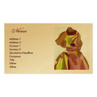 """Vestido dourado de Brown do """"desenhador de moda"""" Cartoes De Visita"""