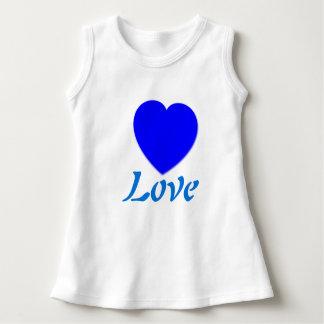 Vestido sem mangas do amor azul do coração