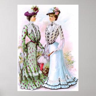 Vestidos 1901 do vintage poster