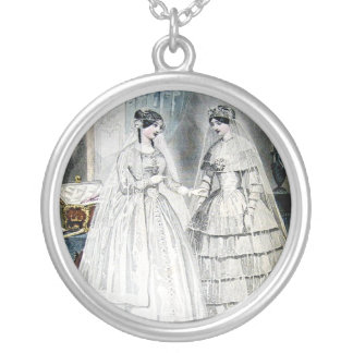 Vestidos de casamento antigos colar banhado a prata