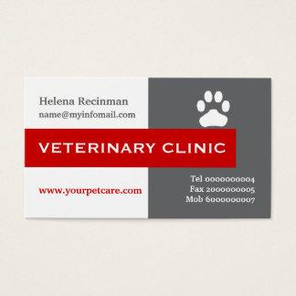 Veterinário/clínica veterinária, vermelho da pata cartão de visita