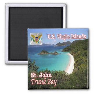 VI - Virgin Islands - baía do tronco de St John Ímã Quadrado