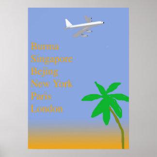 Viagem aérea tropical do vintage impressão