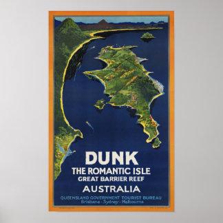 Viagem de Austrália do vintage do ~ da ilha do Poster