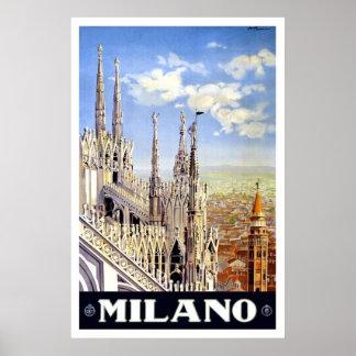 Viagem de Milão do vintage Posteres