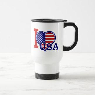 Viagem do coração da bandeira americana/caneca da
