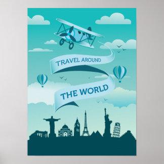 Viagem do estilo do vintage em todo o mundo poster