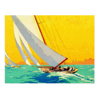 Viagem do francês dos barcos de vela do vintage cartão postal