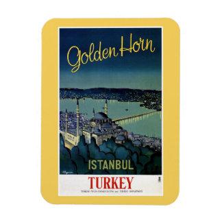 Viagem dourado de Istambul Turquia do chifre do Foto Com Ímã Retangular