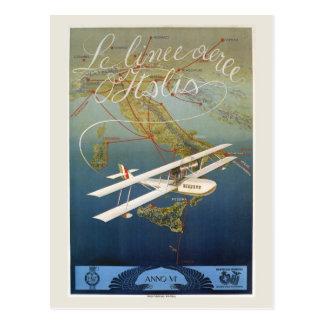 Viagem italiano da canela do plano da ilha do 1920 cartão postal