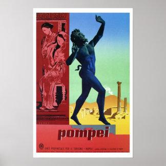 Viagem italiano de Pompeii do vintage Pôster