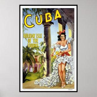 Viagem retro Cuba da imagem do vintage do Poster