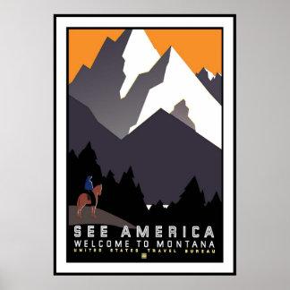 Viagem retro Montana da imagem do vintage do Poster