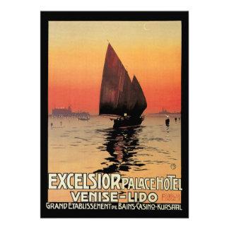 Viagens vintage, barcos no palácio Veneza das mara Convite