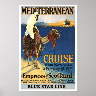 Viagens vintage, cruzeiro de Mediteranian Posteres