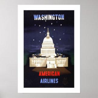 Viagens vintage da C.C. de Washington Poster