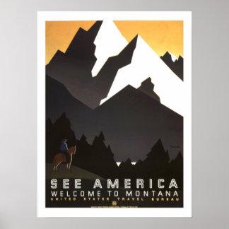 Viagens vintage de América Impressão