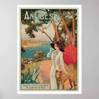 Viagens vintage de Antibes France Posteres