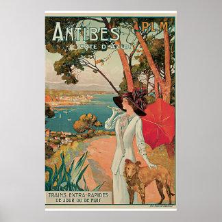 Viagens vintage de Antibes, France Poster