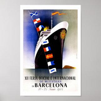 Viagens vintage de Barcelona Poster