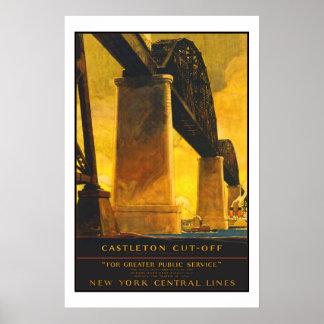 Viagens vintage de Castleton New York Poster