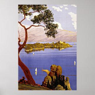 Viagens vintage de Garda Italia do lago Posters