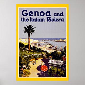 Viagens vintage de Genoa Genebra Italia Posters