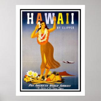 Viagens vintage de Havaí Impressão