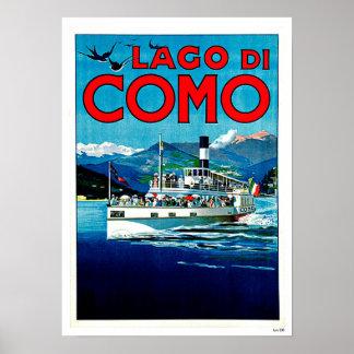 Viagens vintage de Lago di Como Lago Italia Posteres