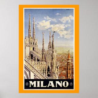 Viagens vintage de Milão Milão Italia Pôsteres