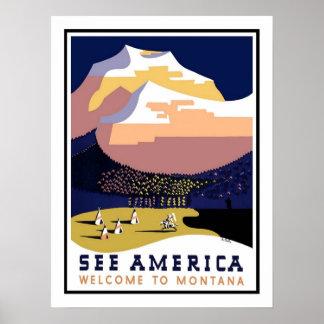 Viagens vintage de Montana Pôsteres