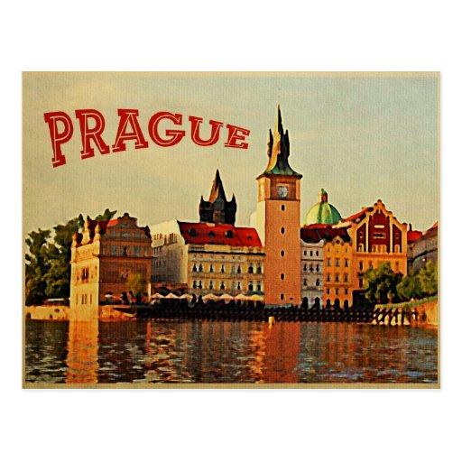 Viagens vintage de Praga Cartão Postal