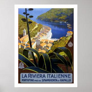 Viagens vintage de Riviera do italiano Poster