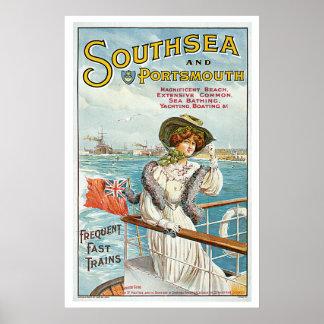 Viagens vintage de Southsea Portsmouth Inglaterra Poster