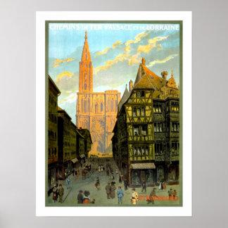 Viagens vintage de Strasbourg Poster