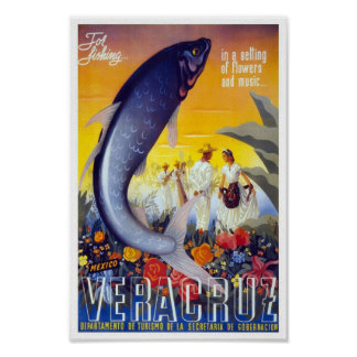 Viagens vintage de Veracruz México Poster