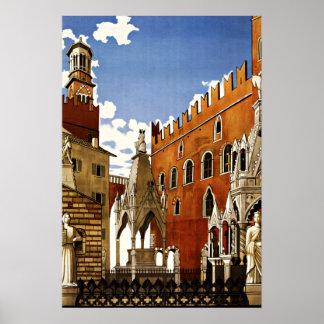 Viagens vintage de Verona Italia Posters