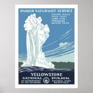 Viagens vintage de Yellowstone Impressão