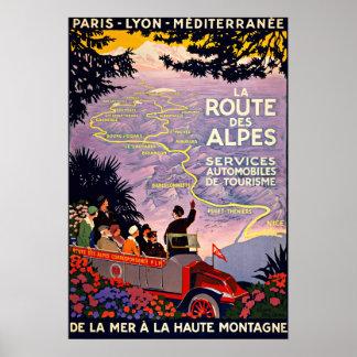Viagens vintage do DES Alpes France da rota do La Impressão