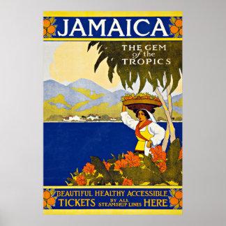 Viagens vintage do mar das caraíbas de Jamaica Pôsteres