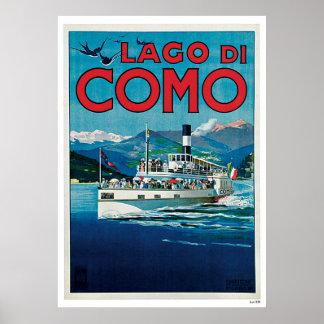 Viagens vintage do navio de Como Italia do lago Impressão