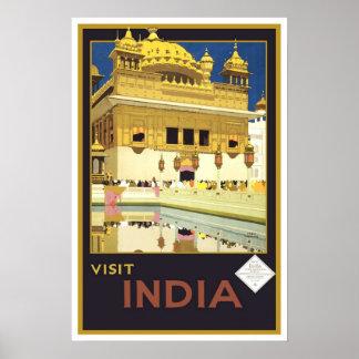 Viagens vintage, India Poster