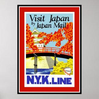 Viagens vintage Japão do poster
