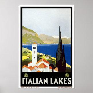 Viagens vintage, lagos italianos posters